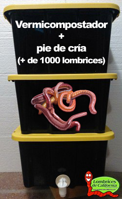 pack vermicompostador y lombrices